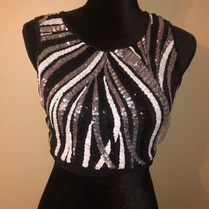 BRAND NEW! Sequin crop top with open back